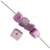 Shell Beads Dice 6mm Purple Aurora Borealis